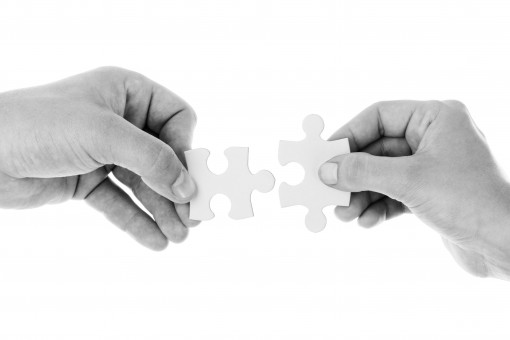 Connect connection cooperation hands holding isolated jigsaw join 1153657